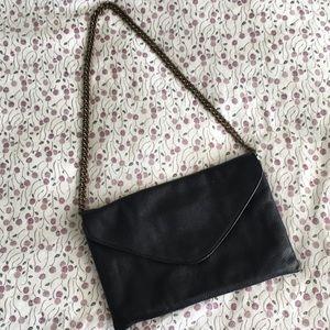 J Crew Black Leather Envelope Clutch w/ Gold Chain